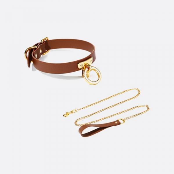 Leather Cosplay Choker&Leash_BROWN
