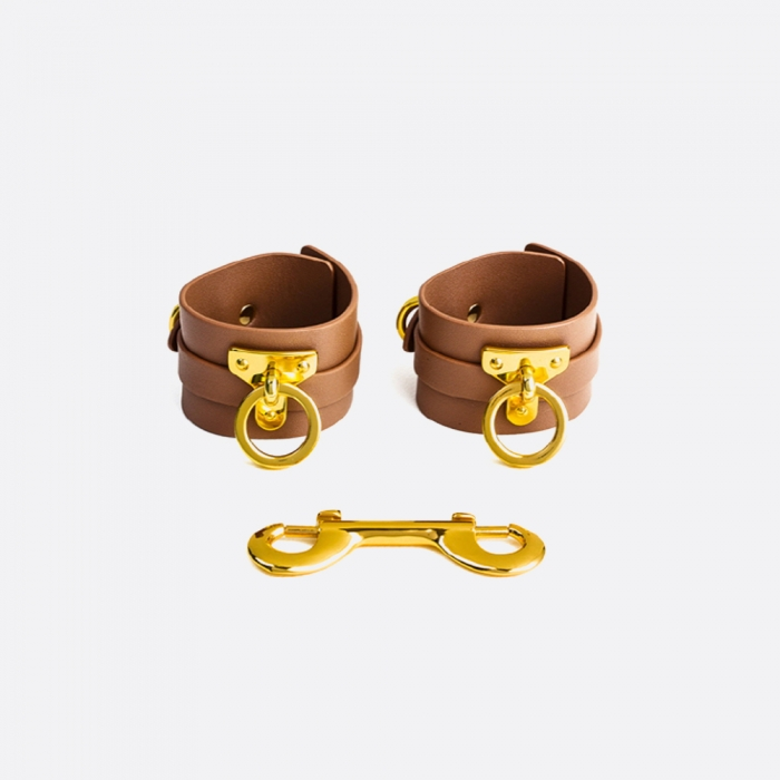 Leather Handcuffs_BROWN
