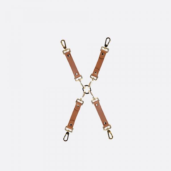 Bondage Boutique Leather Hogtie_BROWN